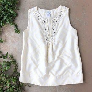 Kate Spade Cream Jewel Embellished Sleeveless Top